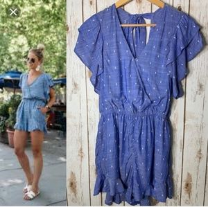 American Eagle Outfitters Chambray Ruffle Romper